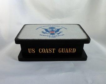 FreeShippingWoodenBoxCoastGuardFlagMilitaryKeepsakeBox