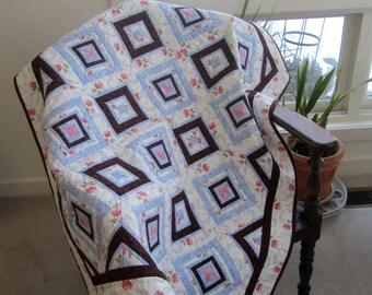 """Floral Lap Quilt Wheelchair Throw """"Summer Garden"""" Patchwork Quilt, Quiltsy Handmade, Original Design"""