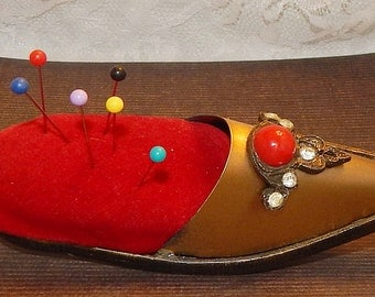 Antique Brass Slipper Shoe Shaped Pin Cushion with Red Velvet Cushion , Red Cabochon, and Clear Rhinestones