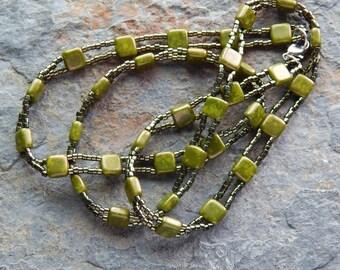 Triple wrap bracelet, metallic olive green, beaded wrap bracelet czech picasso glass, triple wrap layering bracelet, necklace, indie, boho
