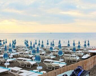 Fine Art Photography, Atrani, Amalfi Coast, Italy, early morning sunrise, beach with blue white umbrellas, 8x12 shown, 8x10 avail