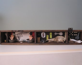 Mixed media assemblage, shadow box, found object, creepy home decor
