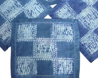 Four cotton shibori indigo napkins