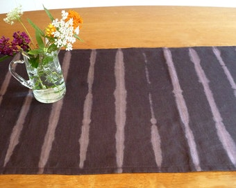 Navy linen shibori table runner