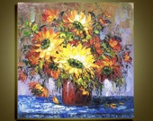 "Original Oil Painting Modern Thick Palette Knife Floral Impasto Fine art on Canvas sunflower Ready to Hang by Qujun 28"" by 28"""