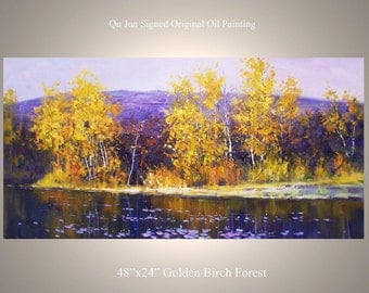 """Original Modern Palette Knife Landscape wall decor Oil Painting on Canvas Golden Birch Forest by Qujun  48"""" by 24"""""""