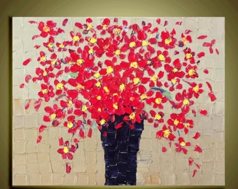 """Red Flower painting Original abstract Oil contemporary  landscape palette knife floral impasto painting 16""""x20""""Ready to Hang by Qujun"""
