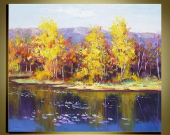 """Original Modern Palette Knife landscape wall decor Oil Painting on Canvas Birch forest Autumn Ready to Hang by Qujun 20"""" by 24"""""""