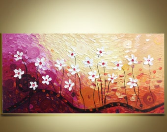 "white flowers  Oil painting  contemporary landscape palette knife floral impasto painting 20""x40"" Ready to Hang by Qujun"