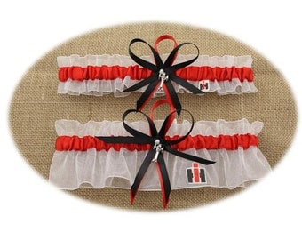 Case IH Themed White and Red Wedding Garter with Tractor Charms (Your Choice, Single or Set)