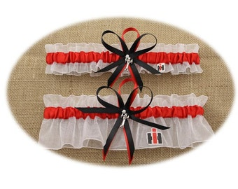 Case IH Themed White and Red Wedding Garter Set with Tractor Charms