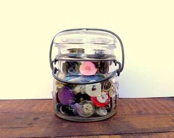 Vintage Jar, Vintage Buttons, Bail Wire Jar ,Glass Jar
