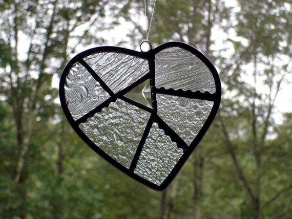 Stained glass heart, stained glass suncatcher, contemporary modern home decor, Valentine heart suncatcher, window art,  black and white