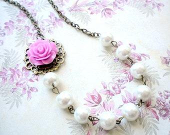 Purple Bridesmaid Necklace Sister In Law Jewelry Purple Necklace Rose Flower Wedding Jewelry Bridesmaid Gift Pearl Bridesmaid Necklace