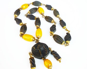 Art Deco Necklace, Egyptian Revival, Butterscotch Bakelite, Black Camel, Rose Petal Beads, Antique Jewelry