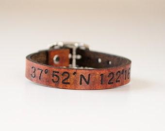 Skinny Latitude and Longitude Leather Cuff with Adjustable Buckle