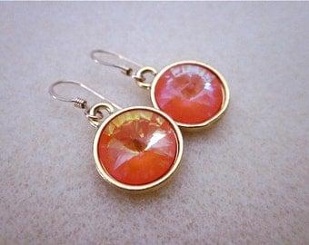Pastel Drop Earrings -- Orange peach earrings -- Light Orange Earrings -- Pastel Orange Earrings -- Light Orange Crystal Earrings -- Ultra