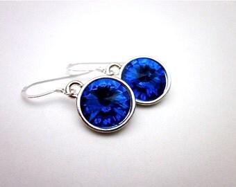 Blue Sapphire Crystal Earrings -- Silver & Blue Earrings -- Blue Crystal Drop Earrings -- Sapphire Swarovski Crystal Earrings