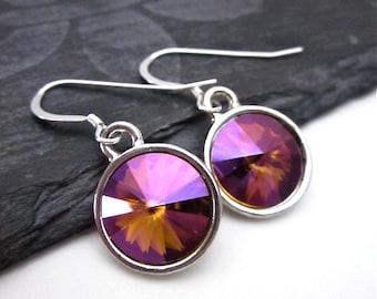 Purple Yellow Orange Earrings -- Violet Drop Earrings -- Purple Swarovski Earrings -- Violet Crystal Earrings -- Mahogany Crystal Earrings