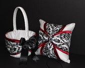 2 Piece Wedding Ring Bearer Pillow Flower Girl Basket Set Black & White Damask with Claret Apple Red