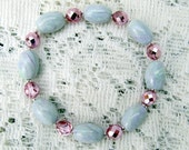 8 inch Stretch Bracelet - Handmade Polymer Clay Beads - Faux Mother of Pearl, Silver and Light Pink