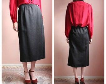 Giorgio Armani Skirt / Charcoal Midi Skirt / Secretary Pocket Skirt / Designer Vintage Skirt
