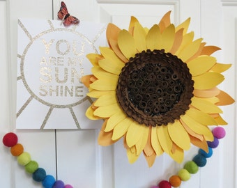 Giant paper sunflower wall art - floral decor - paper sculpture - Flower Taxidermy No.74