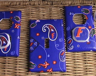 Florida Gators SET Light Switch Toggle Cover Plate and 2 Outlets includes child safety plugs