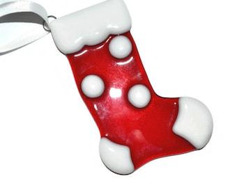 Christmas Stocking Ornament, Fused Glass, Polka Dot, Red and White, Christmas Decor, Holiday Decor