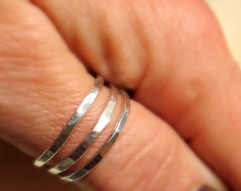 Silver thumb rings, Mans rustic, stacking rings, set of 3, hammered, brushed or shine finish, Womans rustic, stacking rings,