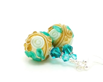 Teal Blue & Ivory Floral Earrings, Lampwork Earrings, Glass Earrings, Beadwork Earrings, Lampwork Jewelry, Glass Bead Earrings