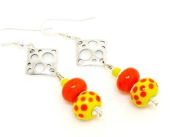 Orange & Yellow Earrings, Polka Dot Earrings, Lampwork Earrings, Beadwork Earrings, Glass Bead Earrings, Dangle Earrings, Sterling Earrings
