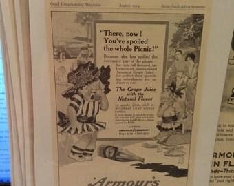 Armour's grape juice print ad circa 1914. 6 1/2 x 9 1/2.