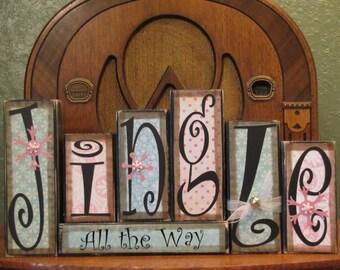 Christmas Decoration, Christmas Decor, Shabby Chic Christmas Sign Word Blocks - Jingle All the Way