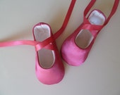 Baby Girl Shoes . Baby Ballerina Shoes .  Infant Ballet Slippers . Pink Satin Dancing Shoes . Fuschia Flats