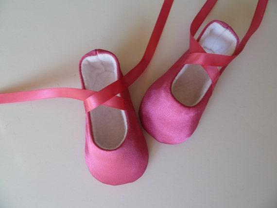 Baby Girl Shoes . Baby Ballerina Shoes .  Infant Ballet Slippers . Dark Pink Satin Dancing Shoes . Fuschia Flats