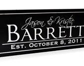 Personalized Wedding Sign Family Name Sign Plaque Established Carved Engraved 6x16
