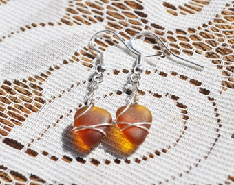 Genuine Sea Beach Glass Charm Earrings Sterling Silver in Amber Brown Genuine Sea Glass Wire Wrapped Beach Earrings Free Shipping 1544