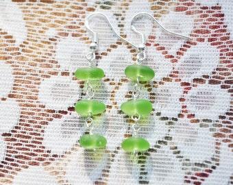 Sea Glass Jewelry Beach Triple Dew Drop Earrings Lime Green Sterling Silver 8853