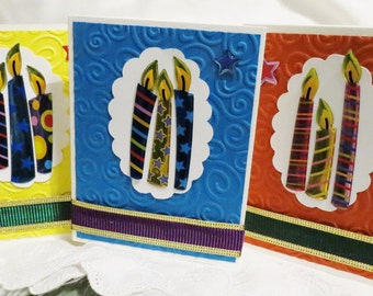Birthday Cards Set of Four Handmade with Candles Bold Colors