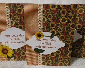 Handmade note cards, friendship card, red and yellow with sunflowers, 'May your day be filled with sunflowers', set of 6