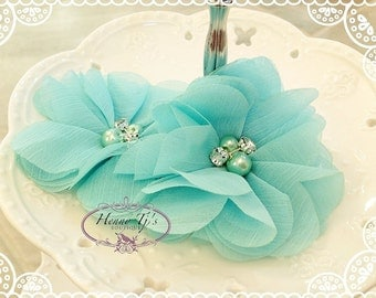 "NEW: 3"" inch  TWO Aubrey AQUA Blue- Soft Chiffon with pearls and rhinestones Mesh Layered Small Fabric Flowers, Hair accessories"