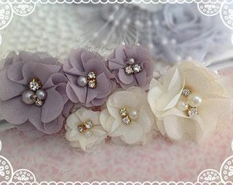 NEW: 2 pcs Aubrey GREY / IVORY Trio Small Chiffon Silk Rhinestones Pearls Layered Fabric Flowers Hair Bow Applique. Bridal Sash