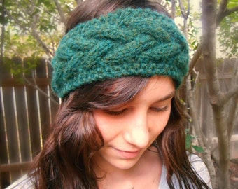 Ready to Ship Cable Headband Earwarmer Forest Green