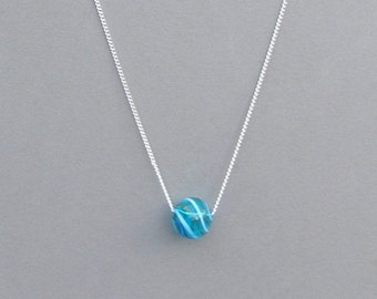 Blue Swirl Hand Blown Glass Bead Necklace