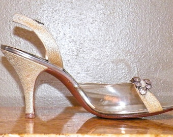 Vintage 1950s Pumps, Metallic Gold and Lucite Slingbacks, 50s Peep Toe Heels by De Liso Debs NOS with Shoe Box, Size 8 N