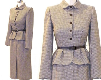 Vintage Peplum Suit, 1970s does 1940s Wool Houndstooth Pencil Skirt Suit, Fit and Flare Suit Don Sayres for Gamut Bonwit Teller