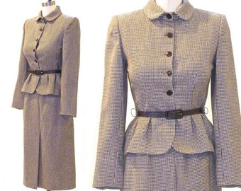 Vintage 1940s Style Suit, Wool Houndstooth Peplum Jacket Skirt Suit, Fit and Flare Suit, Don Sayres for Gamut Bonwit Teller