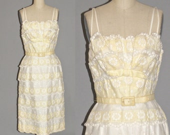 50s Dress, 1950s Cocktail Dress, Pale Yellow & White Embroidered Garden Party Dress, Minx Modes Small