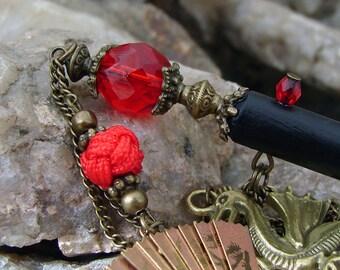 Dragon Hair Stick Ornate Red, Antique Bronze Folding Fan Dangle Geisha Hairsticks Kanzashi Hair Pins Hair Chopsticks - Akane